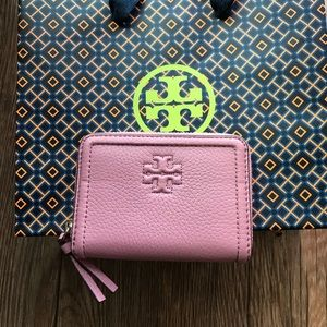 NWT Tory Burch pink small zip around  wallet